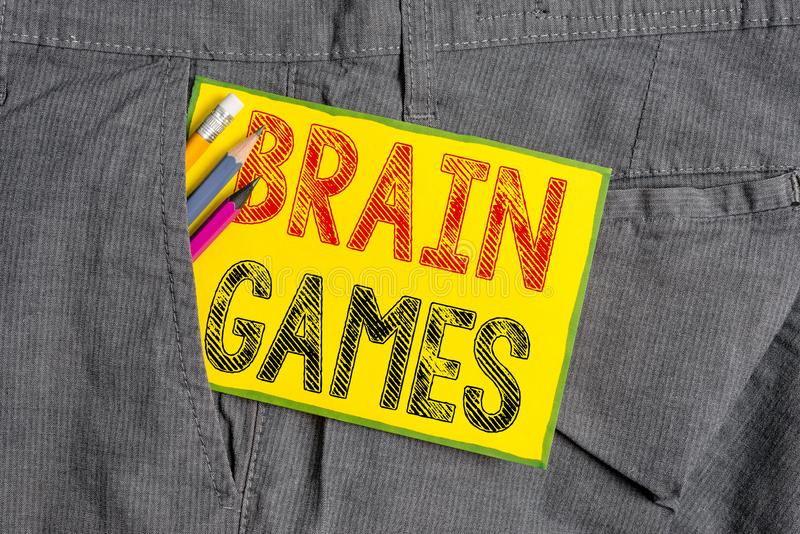 Handwriting text writing Brain Games. Concept meaning psychological tactic to analysisipulate or intimidate with. Handwriting text writing Brain Games royalty free stock images
