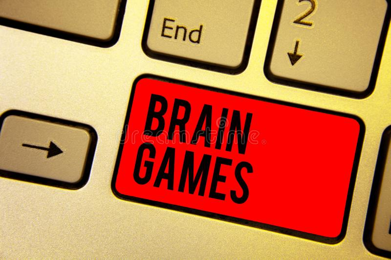 Handwriting text writing Brain Games. Concept meaning psychological tactic to manipulate or intimidate with opponent Keyboard red. Key Intention create computer royalty free stock photography
