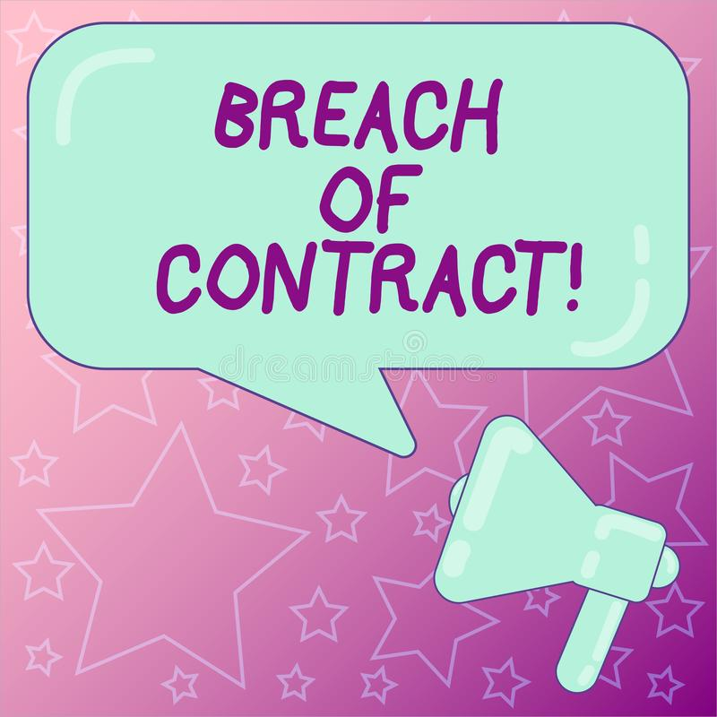 Handwriting Text Writing Breach Of Contract. Concept