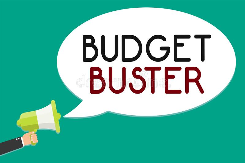 Handwriting text writing Budget Buster. Concept meaning Carefree Spending Bargains Unnecessary Purchases Overspending Man holding. Megaphone loudspeaker speech stock illustration