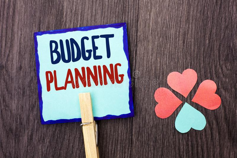 Handwriting text writing Budget Planning. Concept meaning Financial Plannification Evaluation of earnings and expenses written on royalty free stock photo