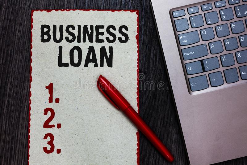 Handwriting text writing Business Loan. Concept meaning Credit Mortgage Financial Assistance Cash Advances Debt Piece paper red bo. Rders black marker computer royalty free stock photography