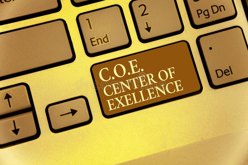 Handwriting text writing C.O.E Center Of Excellence. Concept meaning being alpha leader in your position Achieve Keyboard brown ke. Y Intention create computer royalty free stock photography