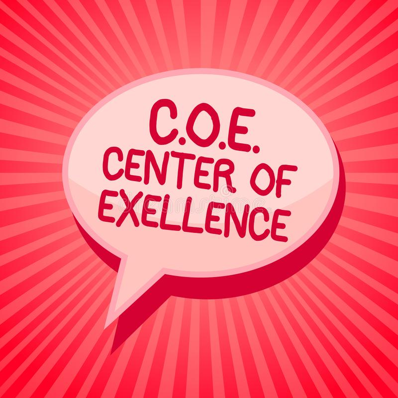 Handwriting text writing C.O.E Center Of Excellence. Concept meaning being alpha leader in your position Achieve Pink speech bubbl. E message reminder rays stock photos