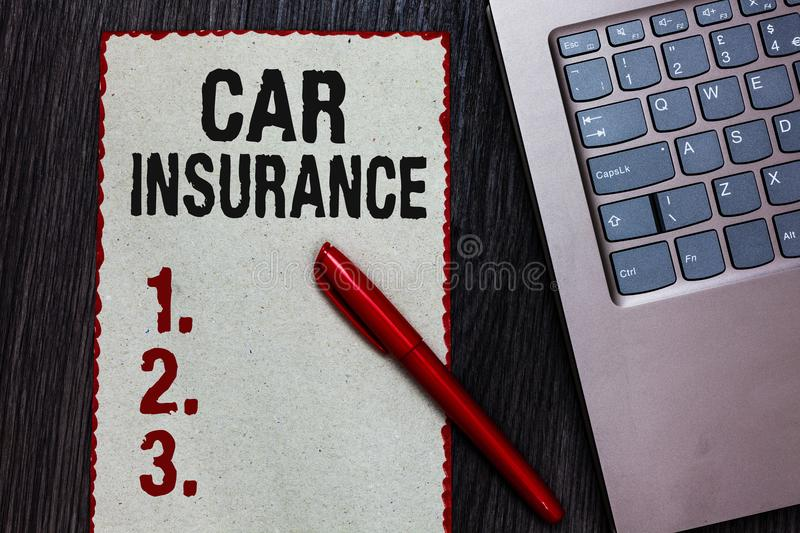 Handwriting text writing Car Insurance. Concept meaning Accidents coverage Comprehensive Policy Motor Vehicle Guaranty Piece paper. Red borders black marker stock images