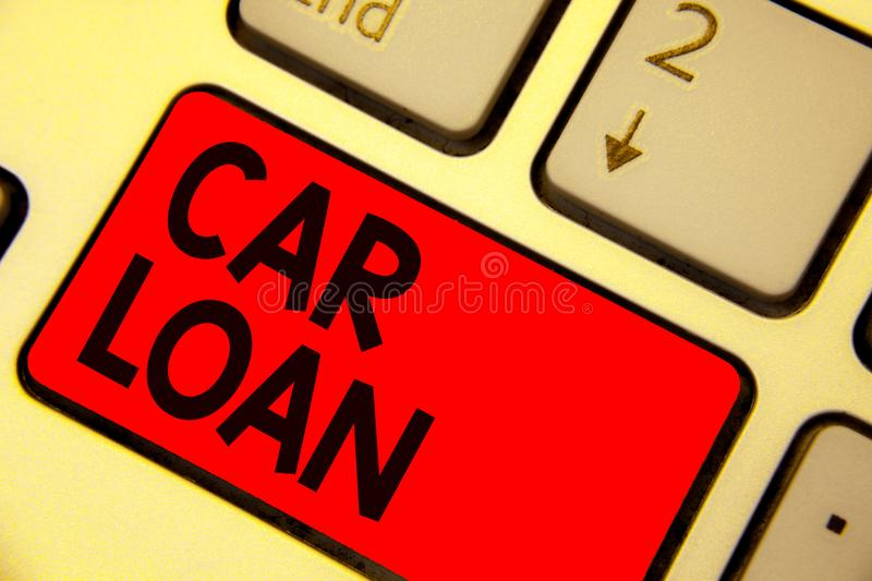 Handwriting text writing Car Loan. Concept meaning taking money from bank with big interest to buy new vehicle Keyboard red key In. Tention create computer stock photography