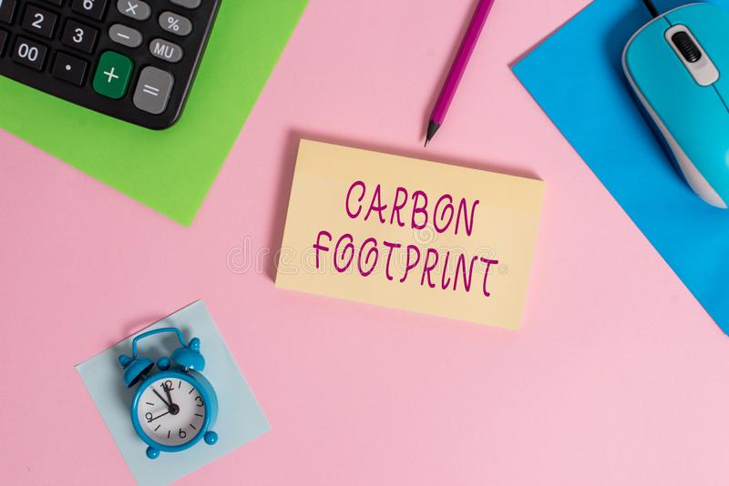 Handwriting text writing Carbon Footprint. Concept meaning amount of dioxide released atmosphere result of activities. Handwriting text writing Carbon Footprint stock photography
