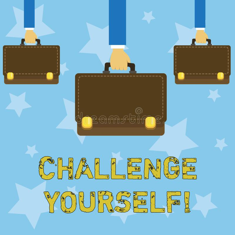 Handwriting text writing Challenge Yourself. Concept meaning Overcome Confidence Strong Encouragement Improvement Dare. Handwriting text writing Challenge stock illustration
