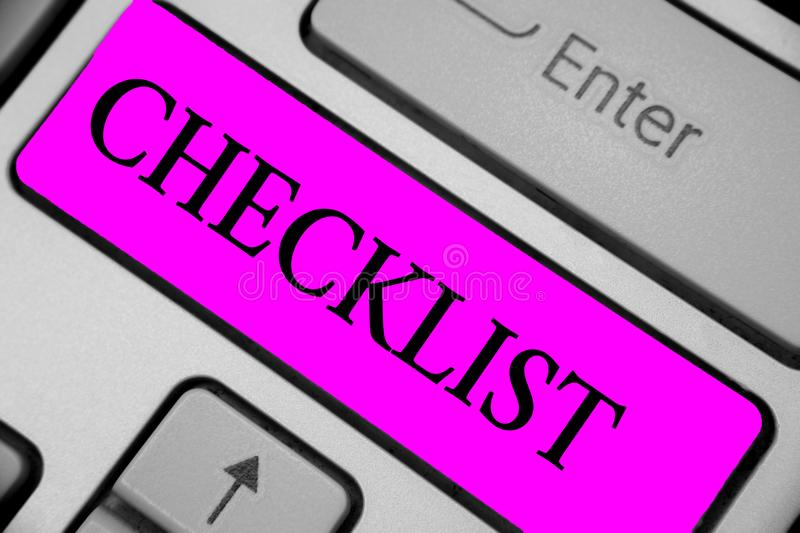Handwriting text writing Checklist. Concept meaning List down of the detailed activity as guide of doing something Keyboard purple. Key Intention create royalty free stock images