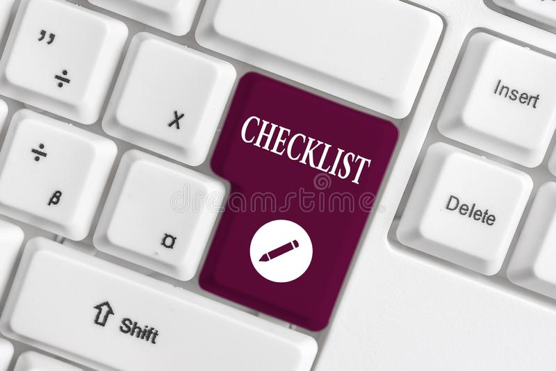 Handwriting text writing Checklist. Concept meaning List down of the detailed activity as guide of doing something White. Handwriting text writing Checklist royalty free stock image
