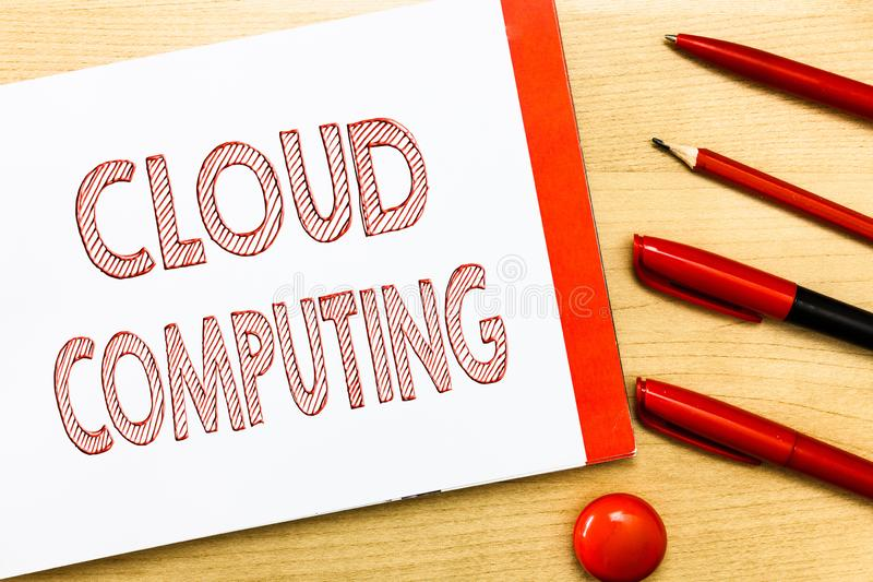 Handwriting text writing Cloud Computing. Concept meaning use a network of remote servers hosted on the Internet stock image
