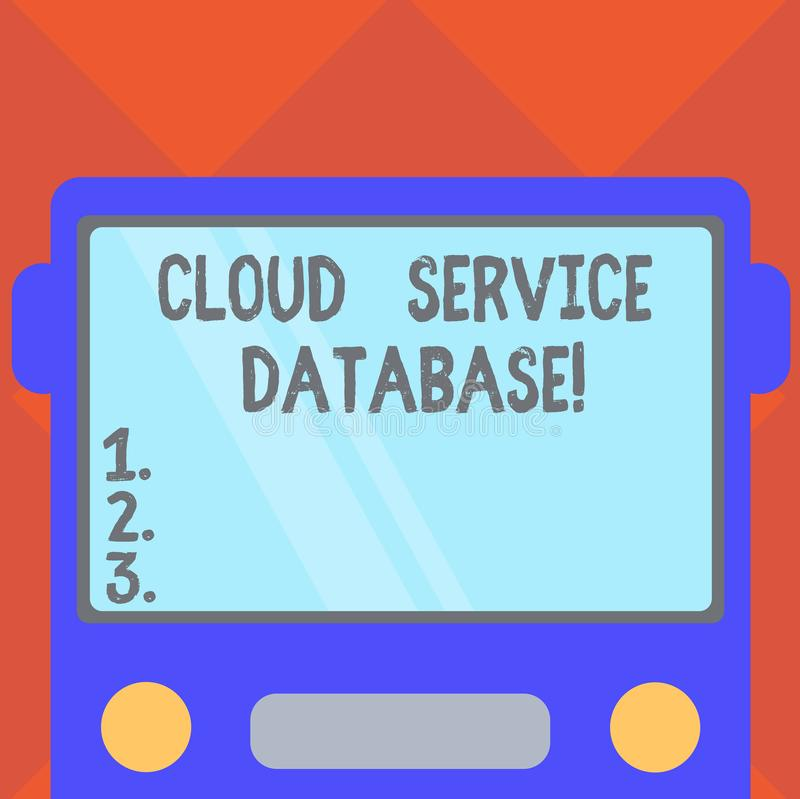 Handwriting text writing Cloud Service Database. Concept meaning optimized virtualized computing environment Drawn Flat Front View. Of Bus with Blank Color royalty free illustration