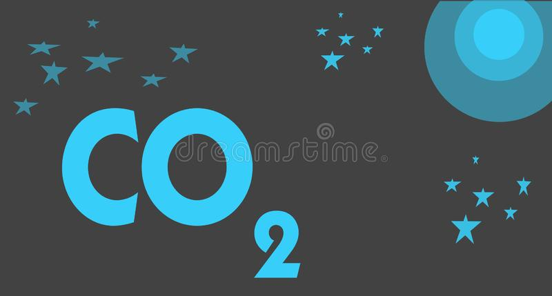 Handwriting text writing Co2. Concept meaning Noncombustible greenhouse gas that contributes to global warming.  stock illustration