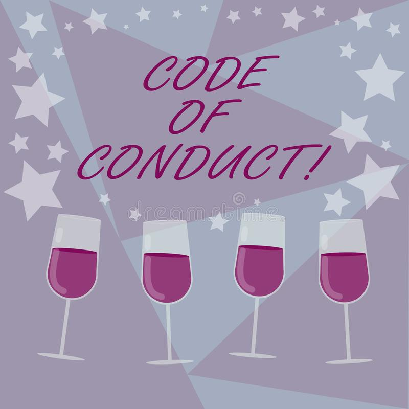 Handwriting text writing Code Of Conduct. Concept meaning Ethics rules moral codes ethical principles values respect. Filled Cocktail Wine Glasses with royalty free illustration