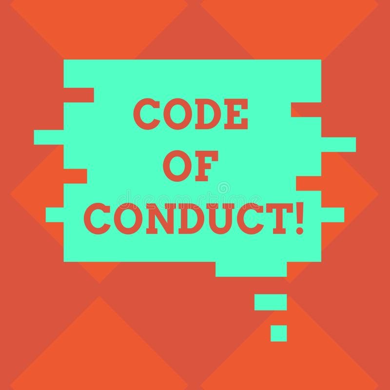 Handwriting text writing Code Of Conduct. Concept meaning Ethics rules moral codes ethical principles values respect. Blank Color Speech Bubble in Puzzle Piece royalty free illustration