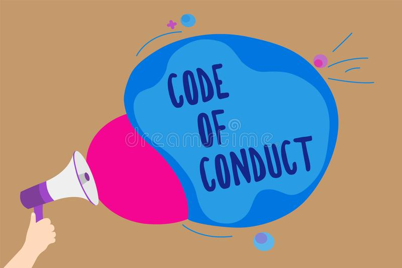 Handwriting text writing Code Of Conduct. Concept meaning Ethics rules moral codes ethical principles values respect Man holding M. Egaphone loudspeaker stock illustration