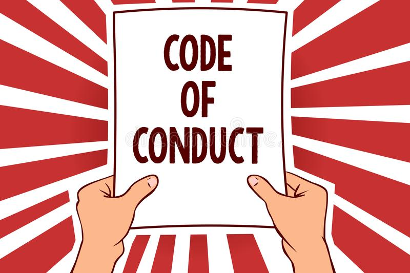 Handwriting text writing Code Of Conduct. Concept meaning Ethics rules moral codes ethical principles values respect Man holding p. Aper important message vector illustration