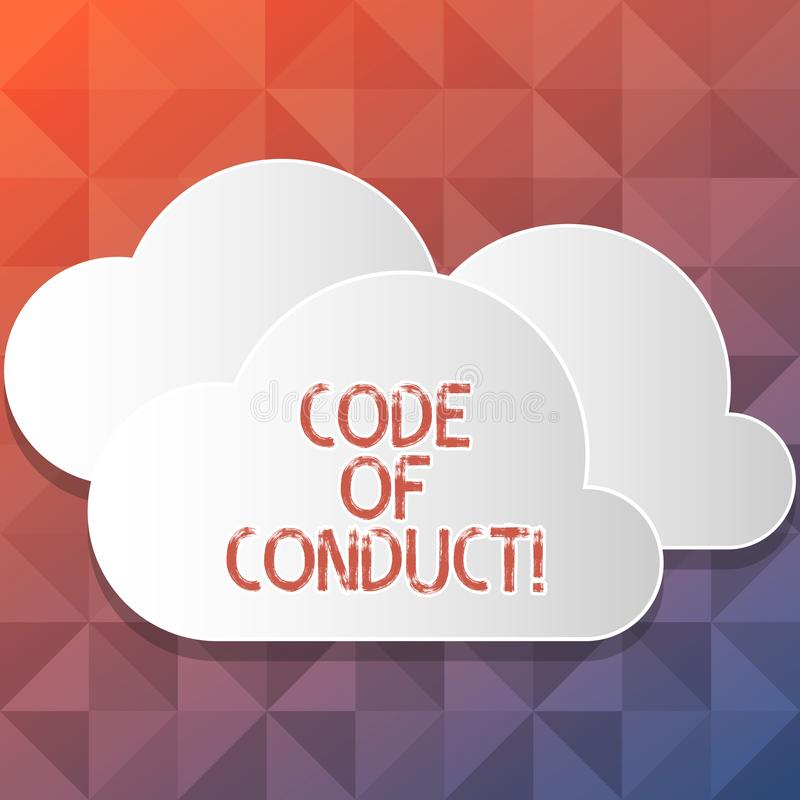 Handwriting text writing Code Of Conduct. Concept meaning Follow principles and standards for business integrity Blank. Handwriting text writing Code Of Conduct stock illustration