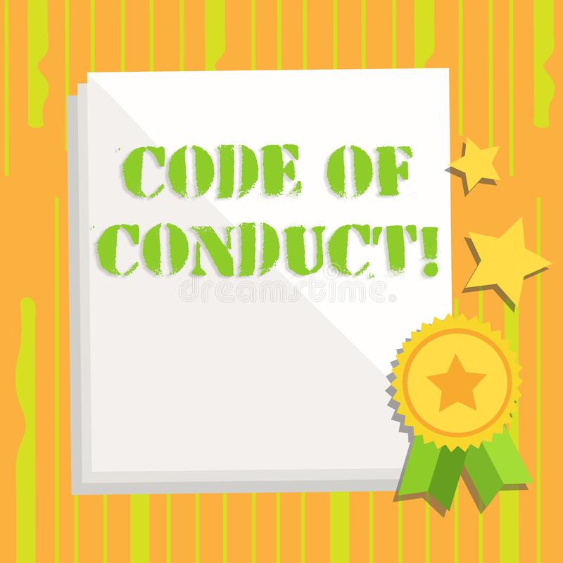 Handwriting text writing Code Of Conduct. Concept meaning Follow principles and standards for business integrity White. Handwriting text writing Code Of Conduct royalty free illustration