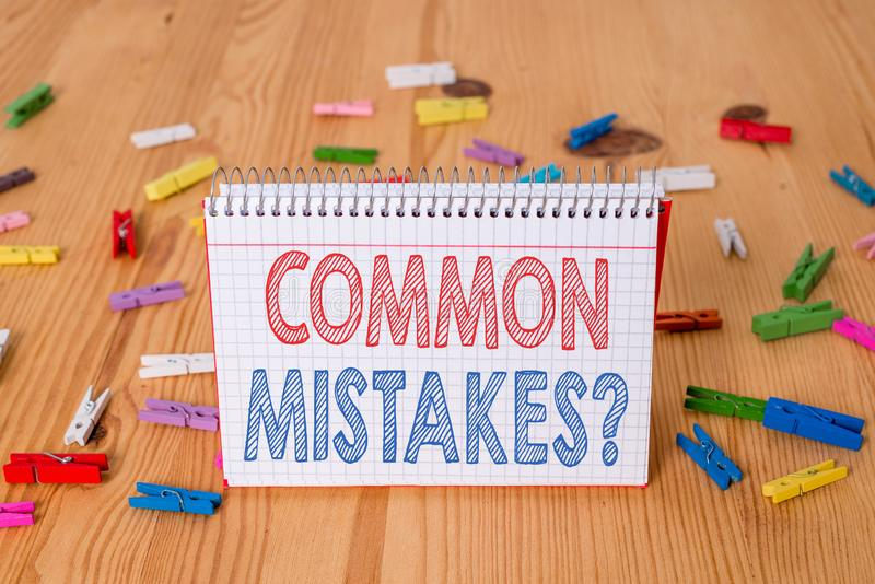 Handwriting text writing Common Mistakes Question. Concept meaning repeat act or judgement misguided making something. Handwriting text writing Common Mistakes royalty free stock image