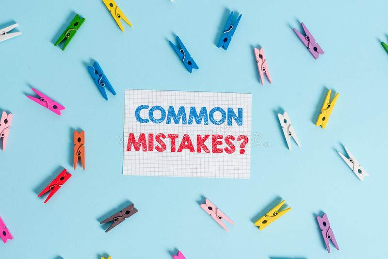Handwriting text writing Common Mistakes question. Concept meaning repeat act or judgement misguided or wrong Colored. Handwriting text writing Common Mistakes stock photo