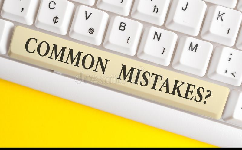 Handwriting text writing Common Mistakes question. Concept meaning repeat act or judgement misguided or wrong White pc. Handwriting text writing Common Mistakes royalty free stock photo