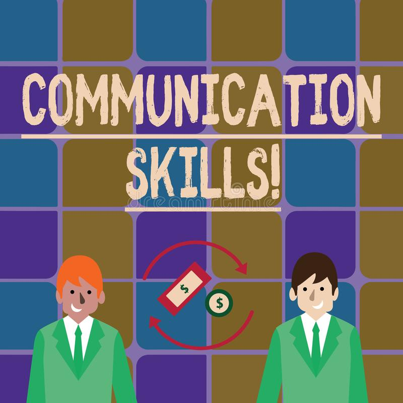 Handwriting text writing Communication Skills. Concept meaning ability to convey information to another effectively. Handwriting text writing Communication royalty free illustration