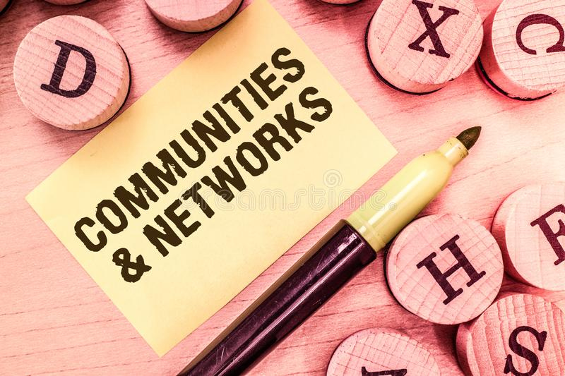 Handwriting text writing Communities and Networks. Concept meaning Collaboration of Learnings and Practices of Members stock images