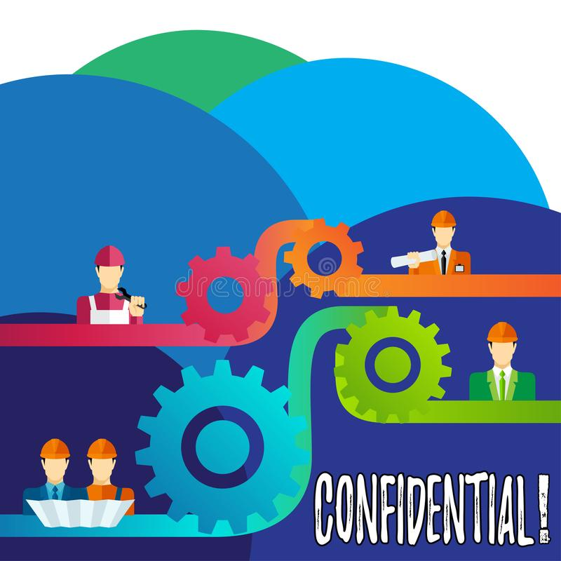 Handwriting text writing Confidential. Concept meaning Agreements between two parties are private and protected. Handwriting text writing Confidential. Concept stock illustration