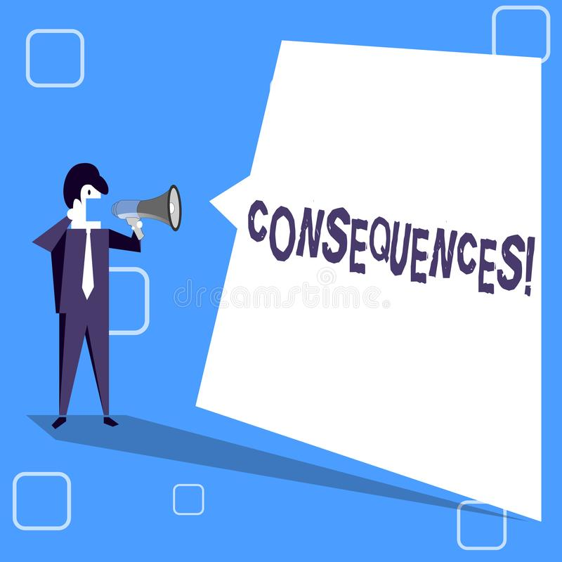 Handwriting text writing Consequences. Concept meaning Result Outcome Output Upshot Difficulty Ramification Conclusion. Handwriting text writing Consequences royalty free illustration