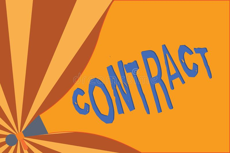 Handwriting text writing Contract. Concept meaning written or spoken agreement especially one concerning employment.  royalty free illustration