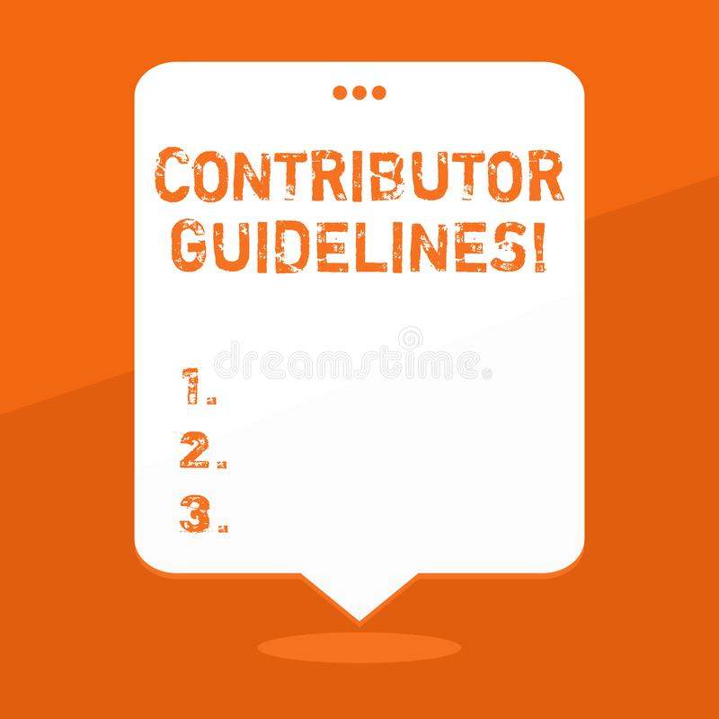 Handwriting text writing Contributor Guidelines. Concept meaning demonstrating who writes articles for magazine or. Handwriting text writing Contributor royalty free illustration
