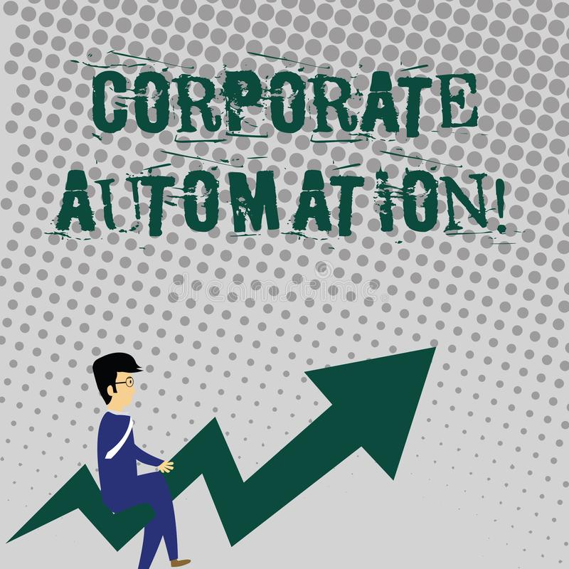 Handwriting text writing Corporate Automation. Concept meaning automating key processes through computing technology. Handwriting text writing Corporate stock illustration