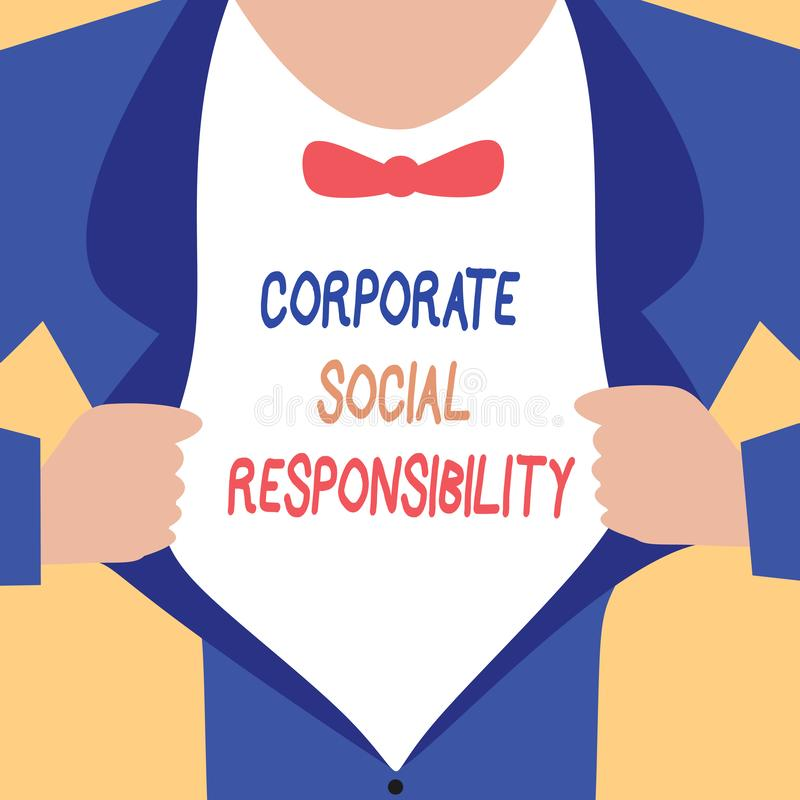 Handwriting text writing Corporate Social Responsibility. Concept meaning Internal corporate policy and Ethic strategy.  stock illustration
