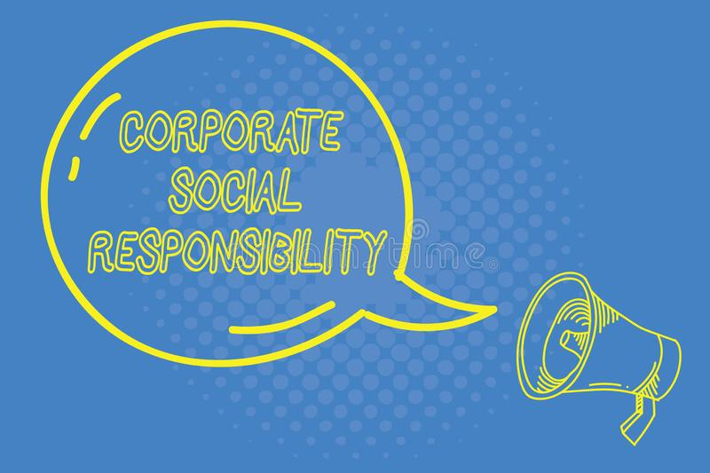 Handwriting text writing Corporate Social Responsibility. Concept meaning Internal corporate policy and Ethic strategy.  vector illustration