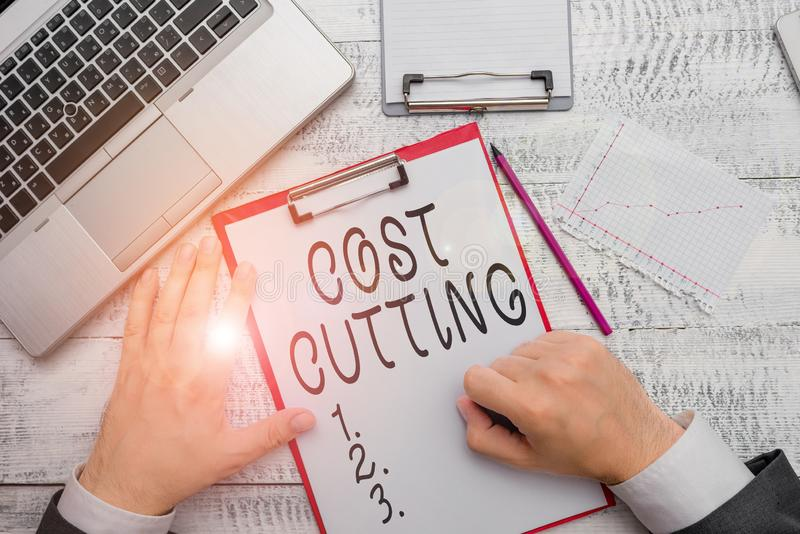 Handwriting text writing Cost Cutting. Concept meaning actions taken to reduce the amount that is spent on a service. Handwriting text writing Cost Cutting royalty free stock photos