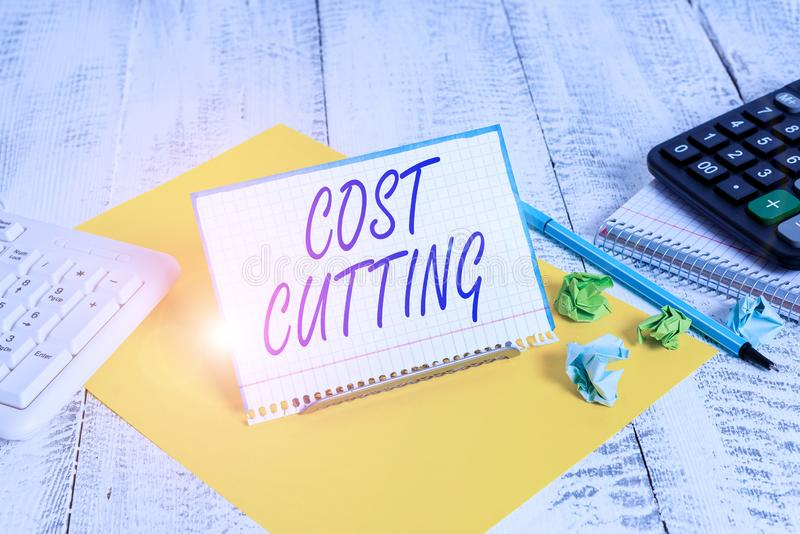 Handwriting text writing Cost Cutting. Concept meaning actions taken to reduce the amount that is spent on a service. Handwriting text writing Cost Cutting stock image