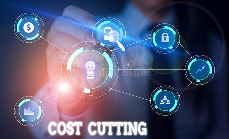 Handwriting text writing Cost Cutting. Concept meaning actions taken to reduce the amount that is spent on a service. Handwriting text writing Cost Cutting stock photo