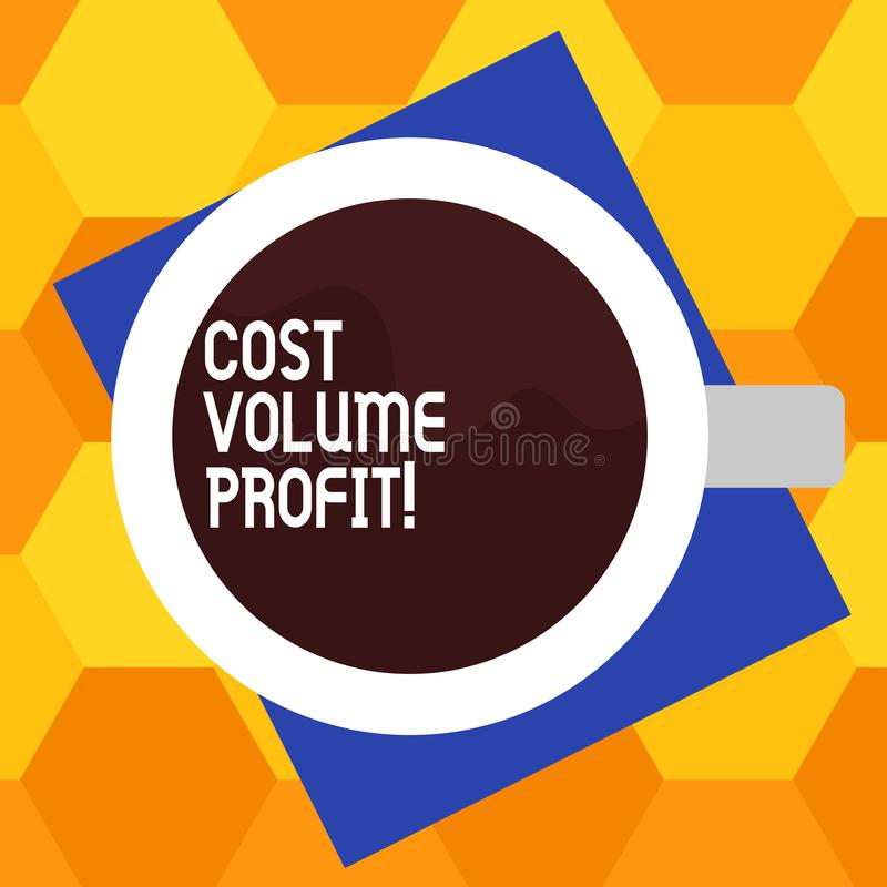 Handwriting text writing Cost Volume Profit. Concept meaning form of cost accounting and It is simplified model Top View royalty free illustration