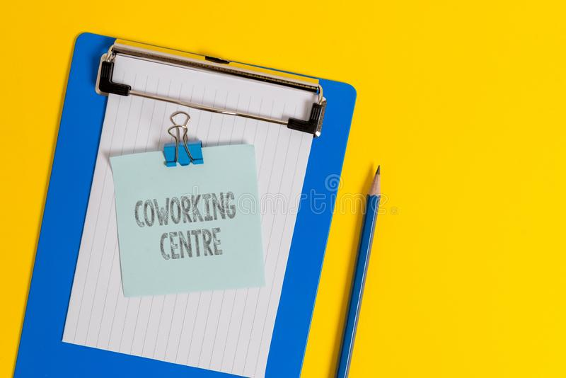 Handwriting text writing Coworking Centre. Concept meaning shared workplace often office and independent activity. Handwriting text writing Coworking Centre stock photography