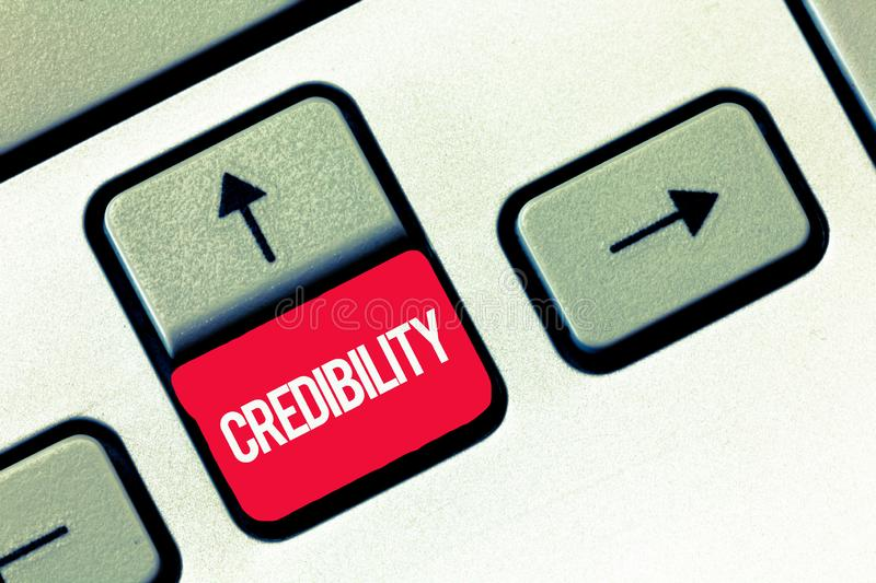 Handwriting text writing Credibility. Concept meaning Quality of being convincing trusted credible and believed in.  stock photos