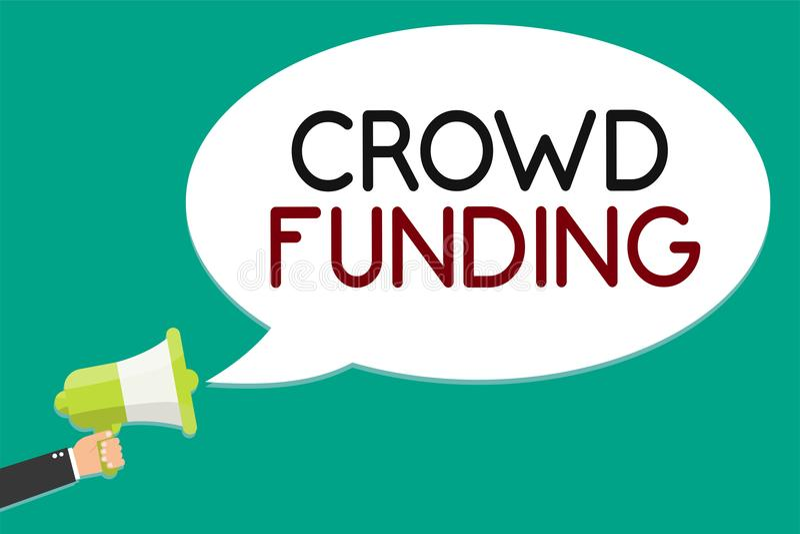 Handwriting text writing Crowd Funding. Concept meaning Fundraising Kickstarter Startup Pledge Platform Donations Man holding mega. Phone loudspeaker speech stock illustration