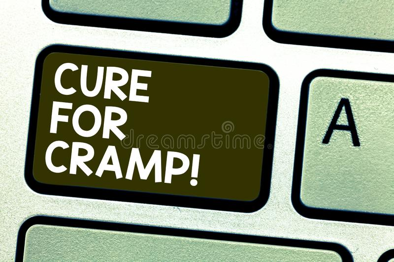 Handwriting text writing Cure For Cramp. Concept meaning Medical treatment good care against some type of pains Keyboard. Key Intention to create computer stock photography