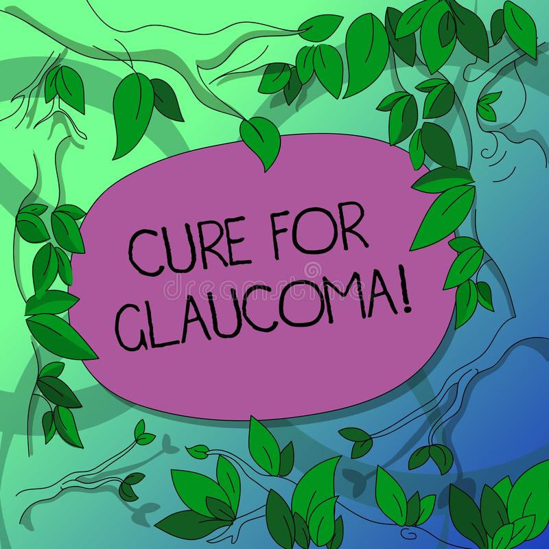Handwriting text writing Cure For Glaucoma. Concept meaning eye drops pills laser surgery or combination these methods. Tree Branches Scattered with Leaves royalty free illustration