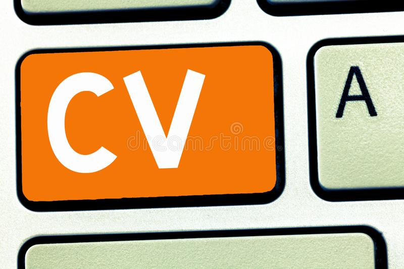 Handwriting text writing Cv. Concept meaning Job seeker life experiences Education attainment skills and expertise.  stock photo