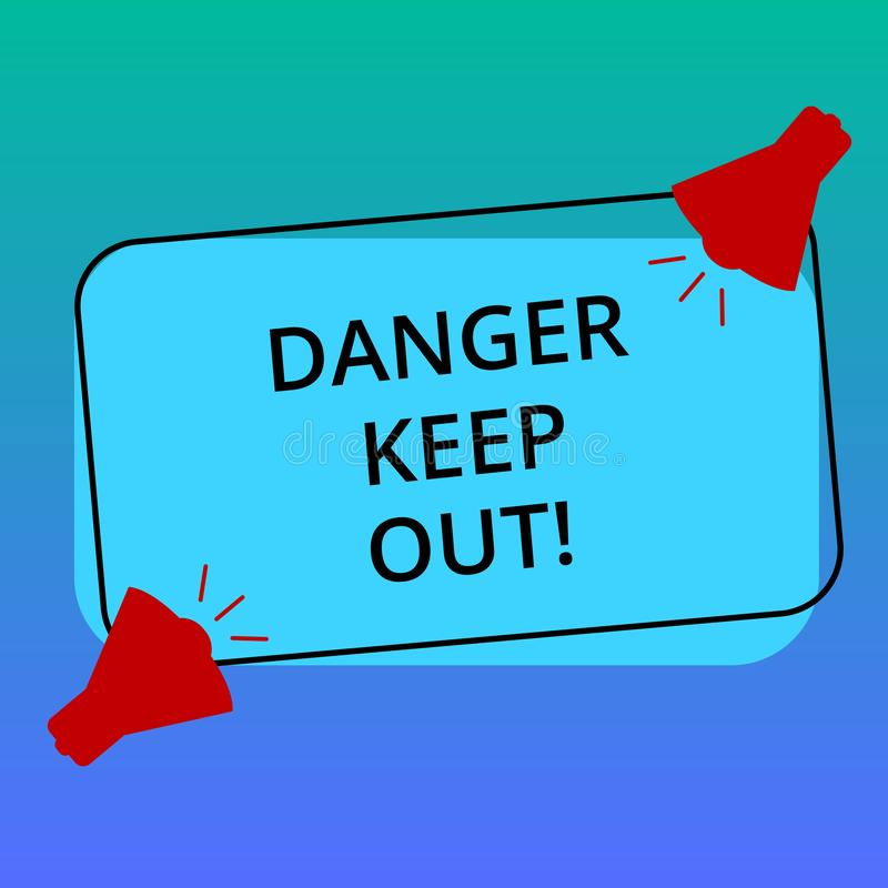 Handwriting text writing Danger Keep Out. Concept meaning Warning be alert stay away from this point safety sign Two. Megaphone with Sound icon on Blank Color royalty free illustration