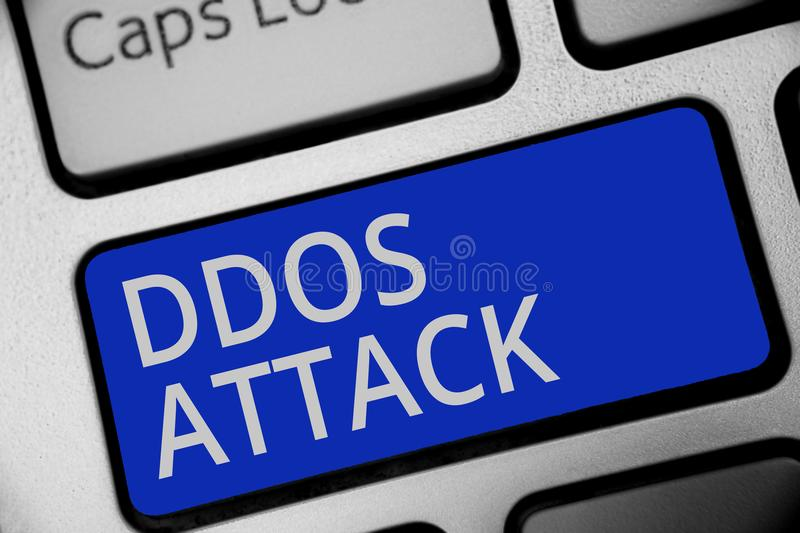 Handwriting text writing Ddos Attack. Concept meaning perpetrator seeks to make network resource unavailable Keyboard blue key Int. Ention create computer stock photography
