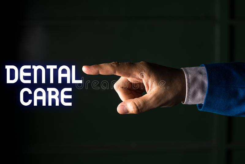 Handwriting text writing Dental Care. Concept meaning maintenance of healthy teeth or to keep it clean for future. Handwriting text writing Dental Care stock image