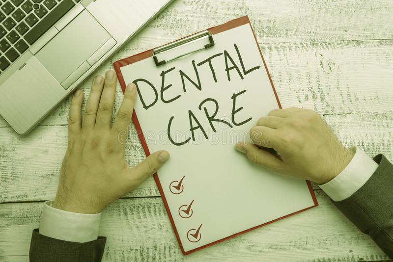 Handwriting text writing Dental Care. Concept meaning maintenance of healthy teeth or to keep it clean for future. Handwriting text writing Dental Care royalty free stock photography