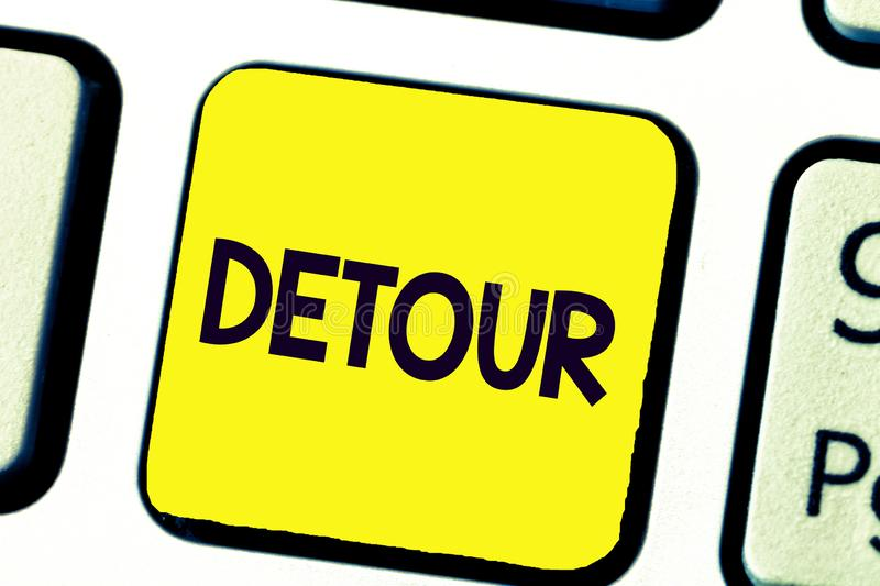 Handwriting text writing Detour. Concept meaning long or roundabout route taken to avoid something or visit somewhere.  royalty free stock photos